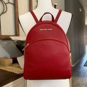 New ♥️ leather medium Abbey red backpack